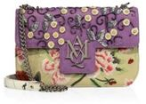 Alexander McQueen Insignia Floral-Embroidered Leather Chain Satchel