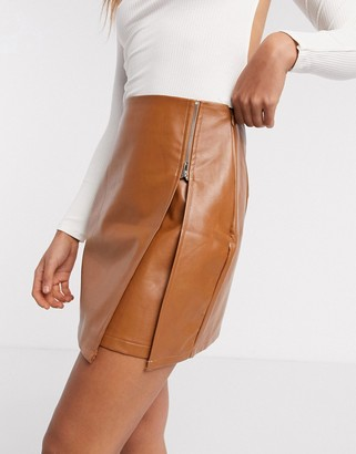 NaaNaa faux-leather zip detail mini skirt in camel