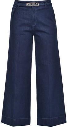 Pinko Logo Plaque Wide-Leg Jeans