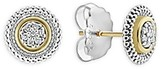 Lagos 18K Gold and Sterling Silver Signature Caviar Diamond Stud Earrings