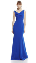 Theia 882762 Sleeveless Draped Jersey Long Gown
