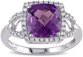 JCPenney FINE JEWELRY Cushion-Cut Lab-Created Alexandrite and 1/6 CT. T.W. Diamond 10K White Gold Ring