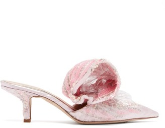 Midnight 00 Bead-embellished Velvet And Pvc Mules - Womens - Pink