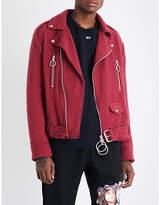 Off-white C/o Virgil Abloh Logo-print Boiled Wool-blend Biker Jacket