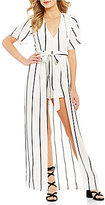 Midnight Doll Plunging V-Neck Open-Back Striped Maxi Romper