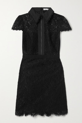 Alice + Olivia Alice Olivia - Ellis Cotton-poplin And Grosgrain-trimmed Corded Lace Mini Dress - Black