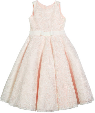 By Zoé White Label Girl's Gennavieve Lace Pearly Sleeveless Dress, Size 4-10