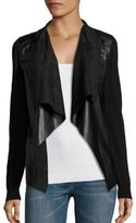 MICHAEL Michael Kors Leather Drape Front Cardigan