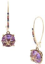 Betsey Johnson Wire-Wrapped Purple Stone Drop Earrings