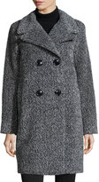 Sofia Cashmere Double-Breasted Cocoon Coat, Black/White