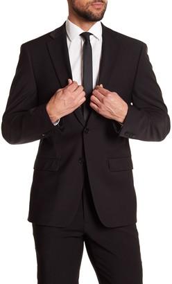 Calvin Klein Solid Black Wool Suit Suit Separate Jacket