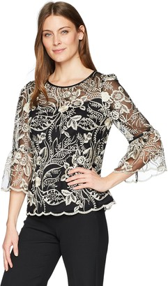 Alex Evenings Women's Embroidered Blouse with Bell Sleeves Shirt Missy and Plus
