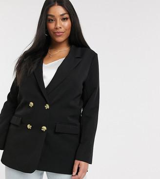 Vero Moda Curve double breasted blazer in black
