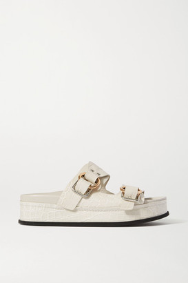 3.1 Phillip Lim + Space For Giants Freida Croc-effect Leather Platform Sandals - White