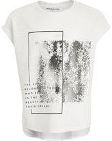 River Island Girls white silver metallic T-shirt
