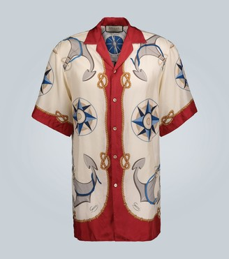 Gucci Nautical printed silk shirt