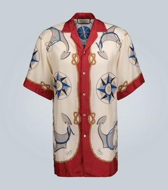 Gucci Nautical printed silk shirt