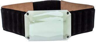 Fendi Black Suede Wide Mirror Buckle Belt Size 75