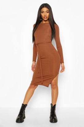 boohoo Rib Crew Neck Belted Midi Dress