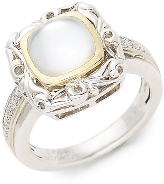 Charles Krypell Tri-Tone, Diamond White Mother-Of-Pearl Ring