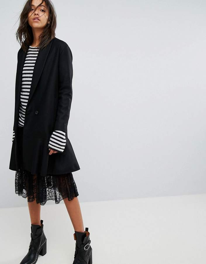 AllSaints Grace Coat With Asymmetric Skirt