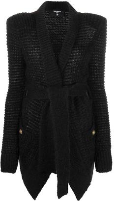Balmain Tie-Waist Knitted Cardigan