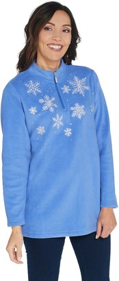 Quacker Factory Embroidered Half Zip Fleece Pullover