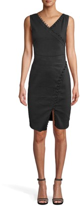 Nicole Miller Stretch Linen Empire Double Strap Tuck Dress