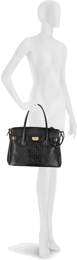 Fontanelli Shiny Black Croco Embossed Leather Tote
