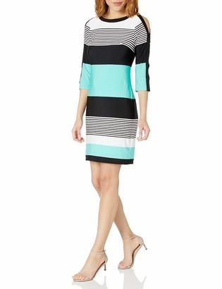 Sandra Darren Women's 3/4 Sleeve Printed Striped Ity Shift Dress