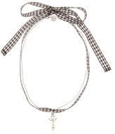 Miu Miu Silver And Crystal Gingham Ribbon Choker