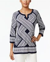 JM Collection Studded Keyhole Tunic, Only at Macy's