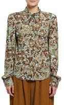 Chloé Butterfly Garden Paisley Viscose Shirt, Brown