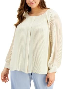 Alfani Plus Size Raglan-Sleeve Pleated Top, Created for Macy's