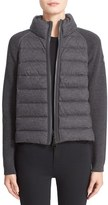 Moncler Women's Quilted Down Front Wool Knit & Flannel Jacket