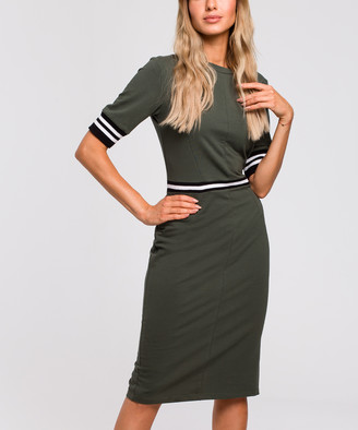 Made Of Emotion Women's Casual Dresses mil - Military Green Stripe Detail Sheath Dress - Women