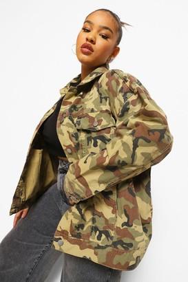 boohoo Plus Camo Oversized Denim Jacket