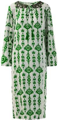 Ada Kamara Embellished Neckline Midi Dress In Green
