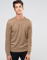 Asos Crew Neck Sweater in Tan Twist Cotton