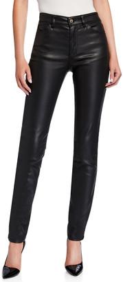 Emporio Armani High-Waist Slim-Leg Five-Pocket Coated Denim Jeans