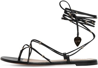 Gianvito Rossi 10mm Embellished Leather Thong Sandals