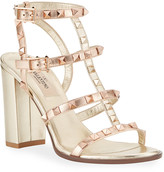 Valentino Garavani Rockstud Caged Metallic Sandals