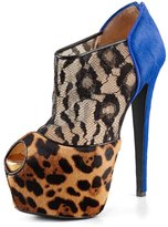 YDN Women Leopard Print Booties High Heels Pumps Peep Toe Lace Stilettos Shoes Pony Hair size 14