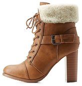 Charlotte Russe Belted Sherpa-Collared Lace-Up Booties