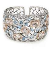 Stephanie Kantis 18K White Gold, White Diamonds, Aquamarine, Morganite Cloister Cuff | Color: Gold