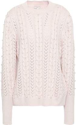 Joie Embellished Pointelle And Cable-knit Sweater