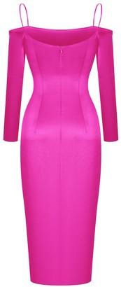 Rasario Pink Cold Shoulder Satin Dress