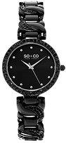 SO&CO New York Women's 5062.4 SoHo Quartz Crystal Accent Black Chain Link Bracelet Watch