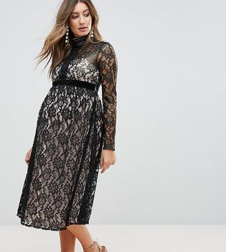 Little Mistress Maternity Allover Cutwork Lace Midi Dress