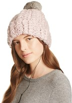 Rebecca Minkoff Cable Knit Tech Beanie with Fur Pom-Pom
